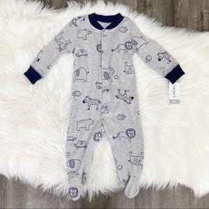 Carter's Baby Infant 6M Gray Animal Footed Pajamas